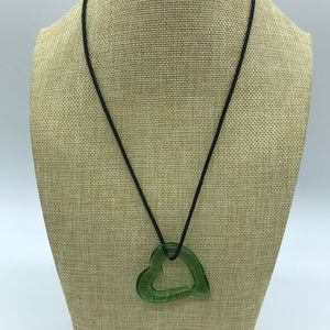Green Open Heart Necklace